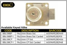 BBL Cupboard Locks 19x22mm