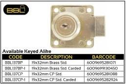 BBL Cupboard Locks 19x33mm