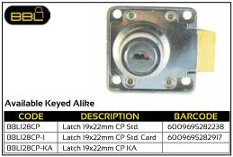 BBL Cupboard Locks Latch 19x22mm