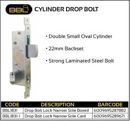 BBL Cylinder Drop Bolt 22mm backset