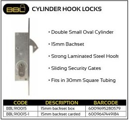 BBL Cylinder Hook Locks 15mm Backset