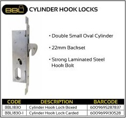 BBL Cylinder Hook Locks 22mm Backset