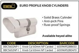 BBL Euro Profile Knob Cylinders NP Carded