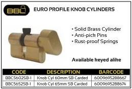 BBL Euro Profile Knob Cylinders SB Carded