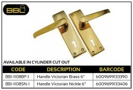 BBL Handle Victorian Brass Straight 6 inch