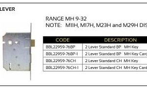 BBL Mortice Lock 2-Lever (Range MH 9-32)