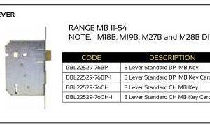 BBL Mortice Lock 3-Lever (Range MB 11-54)