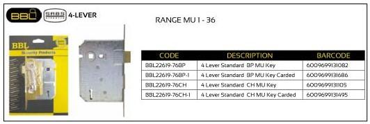 BBL Mortice Lock 4-Lever (Range MB 1-36)
