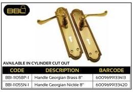 BBL Scroll Handle Georgian Brass 8 inch