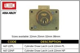 Cupboard Lock Cylinder Draw Latch Lock