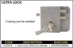 Ultra Lock 3 Bolt Including Cylinder