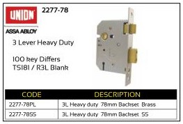 Union 3-Lever Heavy Duty Lock 78mm