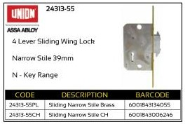 Union 4-Lever Sliding Wing Lock