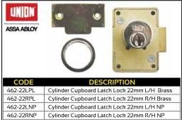 Union Cylinder Cupboard Latch Lock 22mm