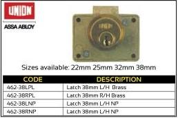 Union Cylinder Cupboard Latch Lock 38mm